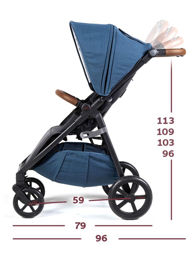 Wózek spacerowy MAST M4 rozmiar i wymiary rozłożony